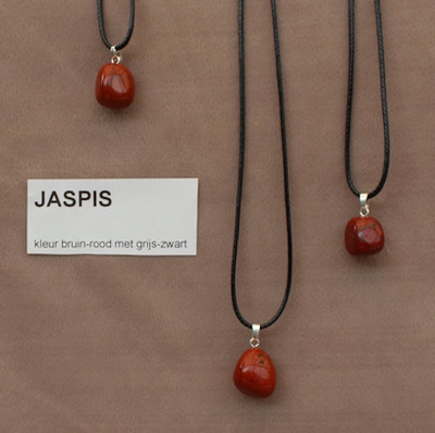 Jaspis edelsteen (Zuid Afrika) bruin-rood met grijs zwart  1 Edelsteen